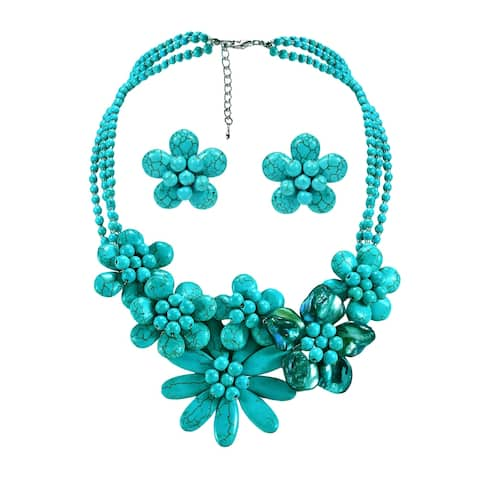 Brilliant in Turquoise Shells Floral Necklace and Clip Earring Set