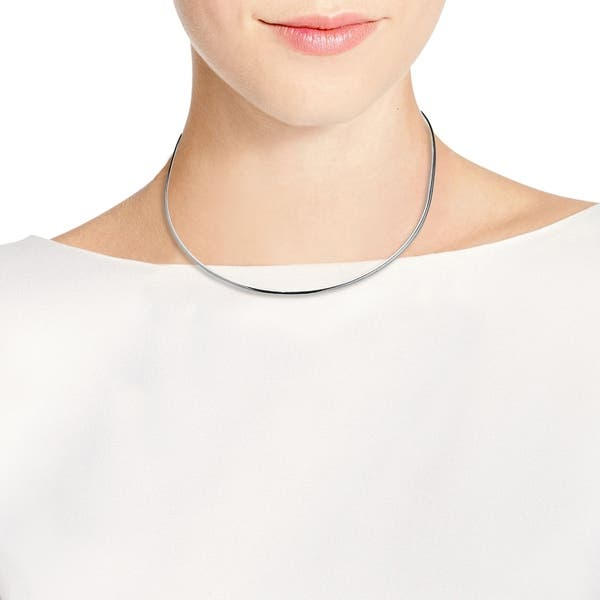 Sterling Silver Beaded Wrap Around Adjustable Open Collar 16 In 1MM Choker