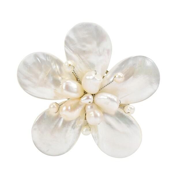 Delightful white shell cultured freshwater pearl flower brooch pin delightful white shell cultured freshwater pearl flower brooch pin mightylinksfo
