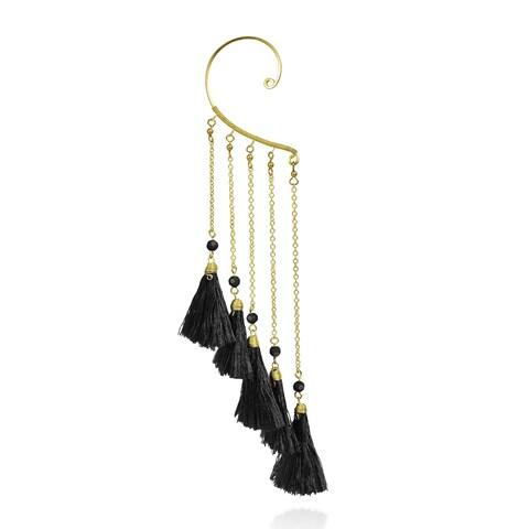 Handmade Trendy Multi Tassel Brass Chain Statement Ear Cuff Earrings (Thailand)