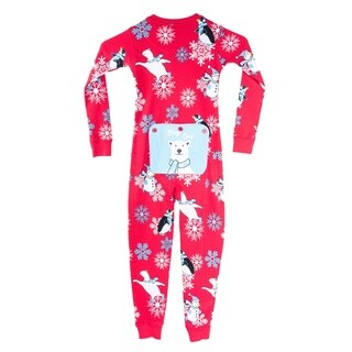 Winter Fun Penguins Union Suit Boys & Girls One Piece Pajamas Stay Cool Polar Bear Rear Flap