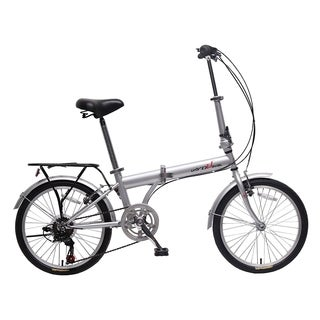 "unYOUsual U transformer 20"" Folding City Bike Bicycle 6 Speed Shimano Gear Steel Frame Mudguard Rear Carrier Silver"