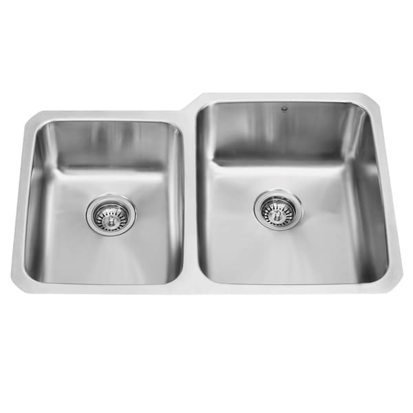 Vigo 32 inch undermount 18 gauge double bowl kitchen sink - 18 inch kitchen sink ...