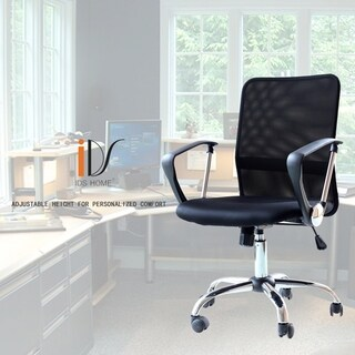 Ergonomic Adjustable Mesh Mid-Back Office Task Desk Chair with Arms, Black