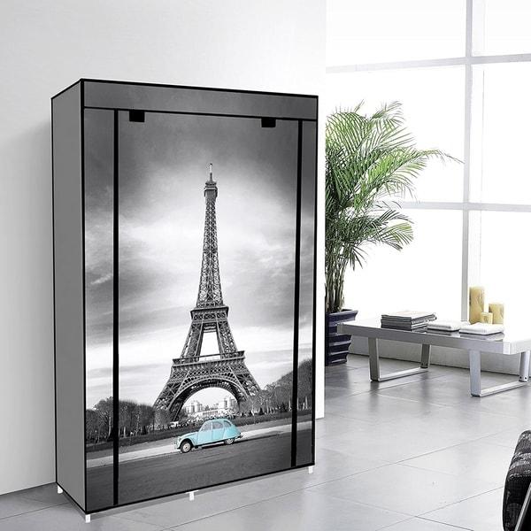 42 Portable Clothes Closet Non Woven Canvas Wardrobe Storage Orangizer 5 Shelves Eiffel Tower