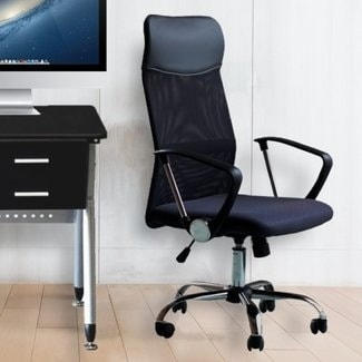 Office Chair Mesh High Back Ergonomic Design With Arms PU Headrest Height  Adjustable Desk Drafting Chair