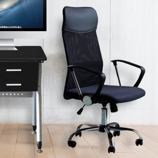 Office Chair Mesh High Back Ergonomic Design With Arms PU Headrest Height Adjustable Desk Drafting Chair Dark Gray