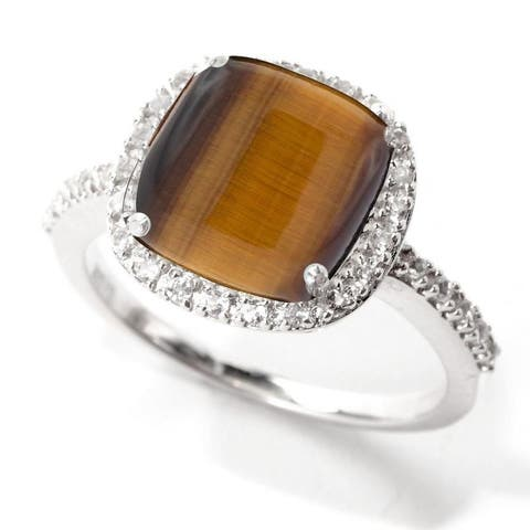 Sterling Silver Tiger Eye and White Topaz Halo Ring
