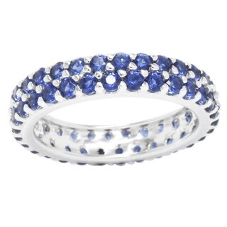 Sterling Silver Created Blue Sapphire Double Row Eternity Band Ring