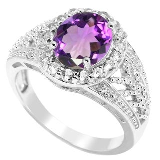 Sterling Silver Amethyst and White Topaz Halo Ring