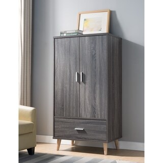 Ashe I Contemporary Distressed Grey Wardrobe Armoire