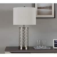 IDS Home Simple Hollow Out Designs Brushed Nickle Steel Table Lamp with Off-white linen shade