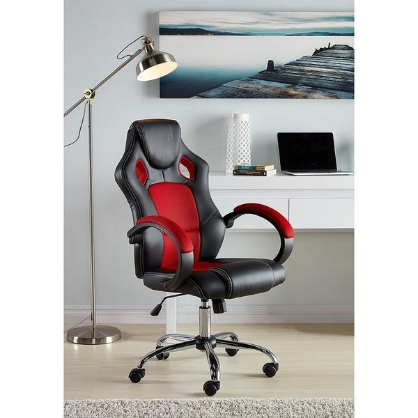 Executive Racing Chair Mesh Bucket Seat Sit-to-Move Wheel Casters