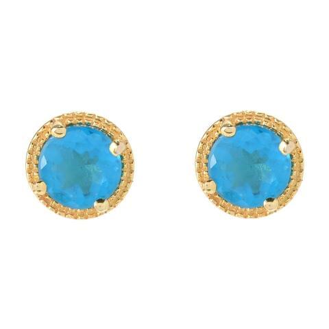 Pinctore 18K Yellow Gold Vermeil o/ Silver 1ctw Neon Apatite Studs Earrings - Blue