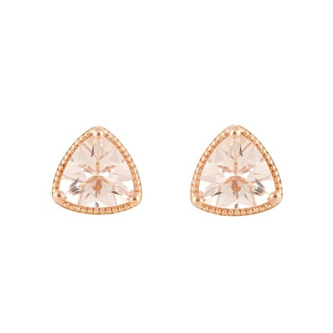 Pinctore 14K Rose Gold Over Ster Silver 2ctw Morganite Triangle Stud Earrings - Peach