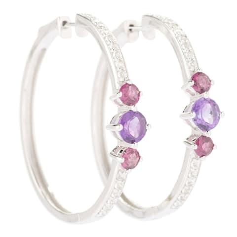 "Sterling Silver 1.5"" Round White Toapz & Black Spinel Hoop Earrings - Purple"