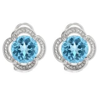 White Topaz Oval Stud Earrings in 925 Sterling Silver-1.25 Carats