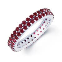 Sterling Silver with Natural Garnet Two Row Eternity Band Ring