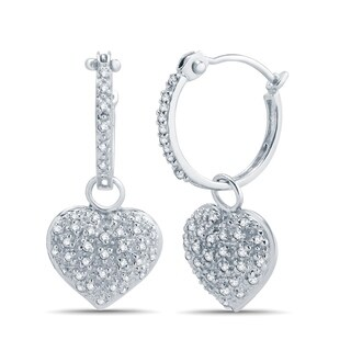 Divina 1/10ct TDW diamond 10KT White Gold Dangle Heart Earring. (J, I3)