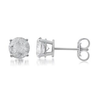Divina 2 1/4ct TDW diamond 10K White Gold Stud Earring. (J, I3)