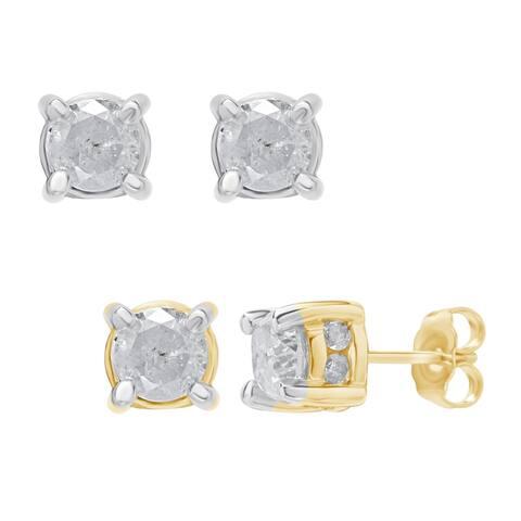 Divina 2.00ct TDW diamond 14KT Gold Stud Plus Earring. (I-J,I2-I3)