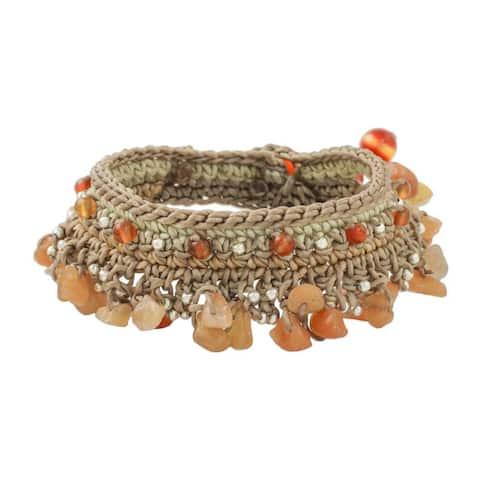 Handmade Sterling Silver Overlay 'Cozy Bohemian' Carnelian Bracelet (Thailand)