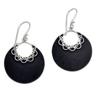 Handmade Sterling Silver Lava Stone 'Crescent Lace' Earrings (Indonesia)