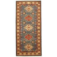 Handmade Herat Oriental Afghan Hand-knotted Kazak Wool Rug (2'8 x 6')