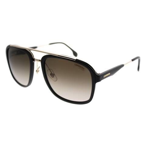Carrera Square Carrera 133/S 2M2 Unisex Black Gold Frame Brown Gradient Lens Sunglasses