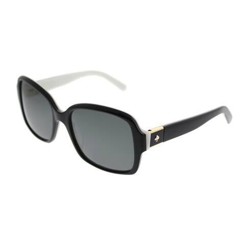 Kate Spade Rectangle KS Annora/P QOP Women Black White Frame Grey Polarized Lens Sunglasses