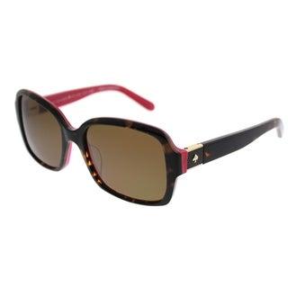 Kate Spade Rectangle KS Annora/P S0U Women Havana Pink Frame Brown Polarized Lens Sunglasses