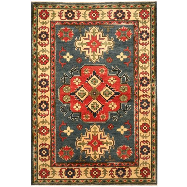 Handmade Herat Oriental Afghan Hand-knotted Kazak Wool Rug - 4'1 x 5'10 (Afghanistan)