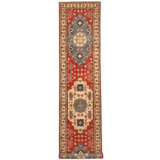 Handmade Herat Oriental Afghan Hand-knotted Kazak Wool Rug - 2'8 x 13'6 (Afghanistan) - 2'8 x 13'6
