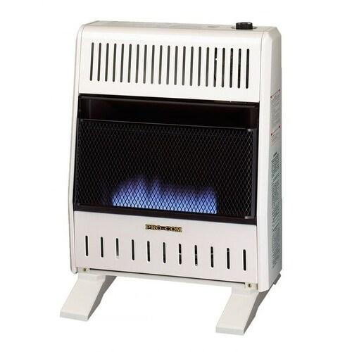 Procom Dual Fuel Ventless Blue Flame Heater - 20,000 BTU,...