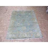 """Hand Knotted Sky Blue Oushak with Wool Oriental Rug (8' x 9'11"""")"""