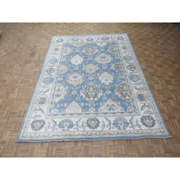 Shop Hand Knotted Light Blue Oushak With Wool Oriental Rug 811 X