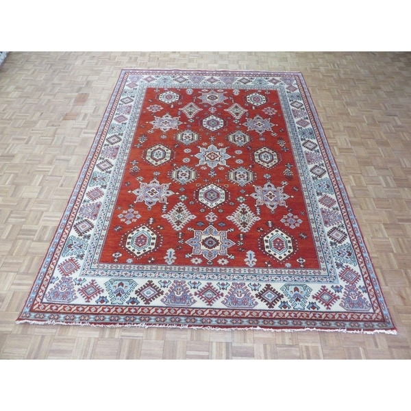 """Hand Knotted Red Kazak with Wool Oriental Rug - 8'8"""" x 12'"""