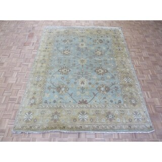 "Hand Knotted Sky Blue Oushak with Wool Oriental Rug (8' x 10'3"")"
