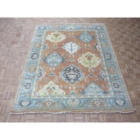 "Hand Knotted Salmon Oushak with Wool Oriental Rug - 8'2"" x 9'10"""