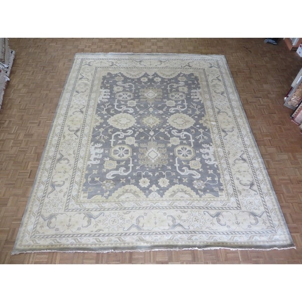 Hand Knotted Gray Oushak with Wool Oriental Rug