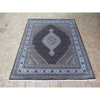 Hand Knotted Black Mahi Tabriz with Wool & Silk Oriental Rug - 8' x 10'