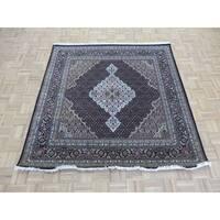 "Hand Knotted Black Mahi Tabriz with Wool & Silk Oriental Rug - 6'3"" x 6'1"""