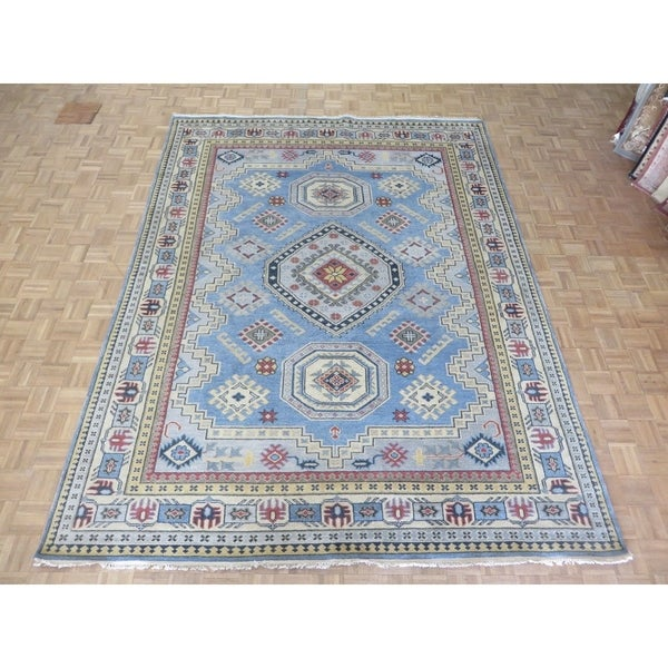 Shop Hand Knotted Light Blue Kazak With Wool Oriental Rug 88 X