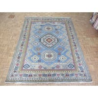 "Hand Knotted Light Blue Kazak with Wool Oriental Rug (8'8"" x 11'5"")"