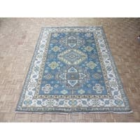 """Hand Knotted Light Blue Kazak with Wool Oriental Rug - 8'10"""" x 11'11"""""""