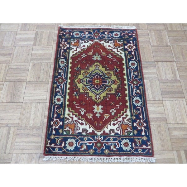 Hand Knotted Rust Red Serapi Heriz with Wool Oriental Rug - 2' x 3'