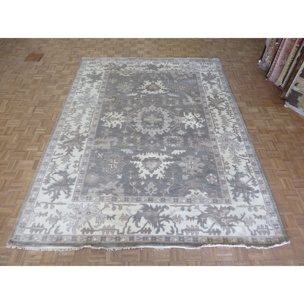 "Hand Knotted Gray Oushak with Wool Oriental Rug - 9'2"" x 12'1"""