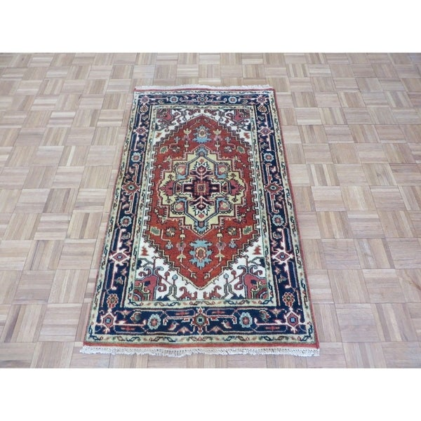 "Hand Knotted Rust Red Serapi Heriz with Wool Oriental Rug - 3'1"" x 5'1"""