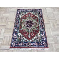 Hand Knotted Rust Red Serapi Heriz with Wool Oriental Rug (2' x 3')
