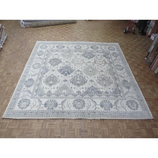 "Hand Knotted Beige Oushak with Wool Oriental Rug (12' x 12'3"")"